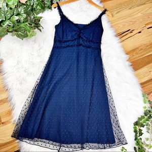 Anthro Weston Wear Navy Tulle Dotted Party Dress
